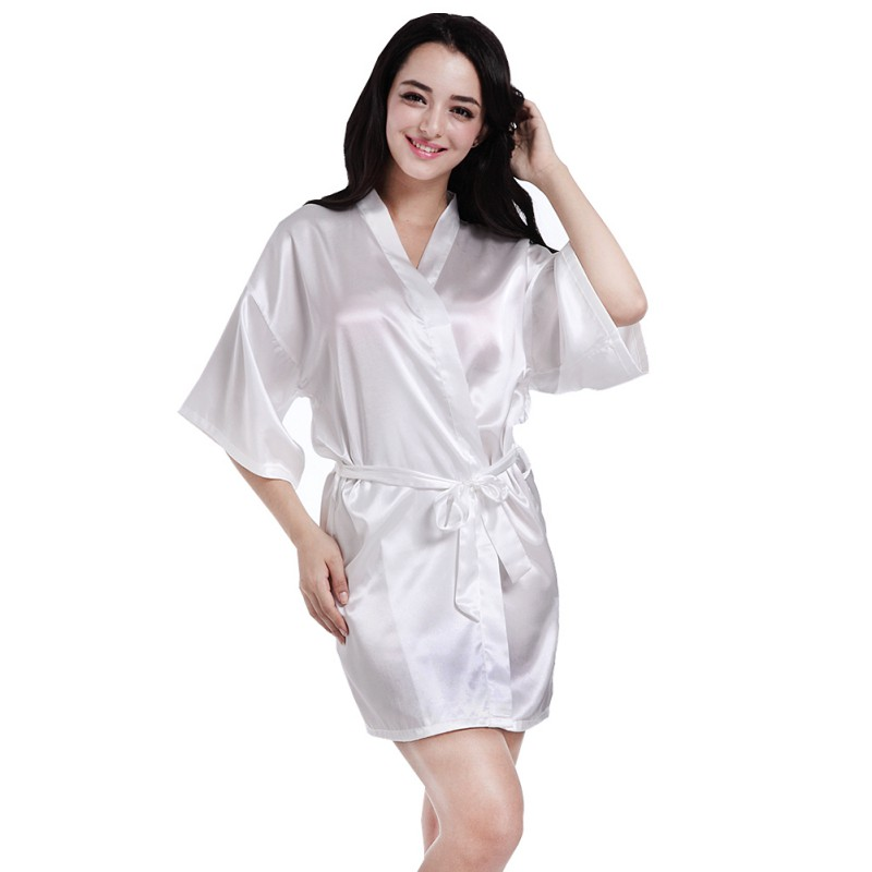 Satin Faux Silk Wedding White Bridal Dressing Gown Kimono