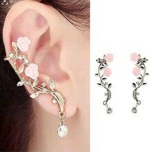Fashion Flower Rhinestone Ear Cuff Earrings Gold Silver Color Bohemia Clip