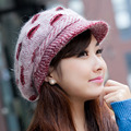New  Elegant Women Hat Winter & Fall Beanies Knitted Hats Rabbit Fur Cap,Female Fashion  Autumn Ladies Crochet Hats Skullies