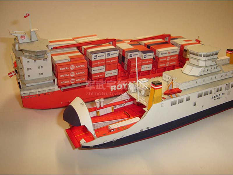 1:400 MARY ARCTICA Container Ship Paper Model Greenlandic Container Carrier LM