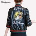 Women Basic Jacket 2017 Spring Slim Short Desigh Pu Leather Jacket Back Embroidery Baseball Leather Coat Women Bomber Jackets