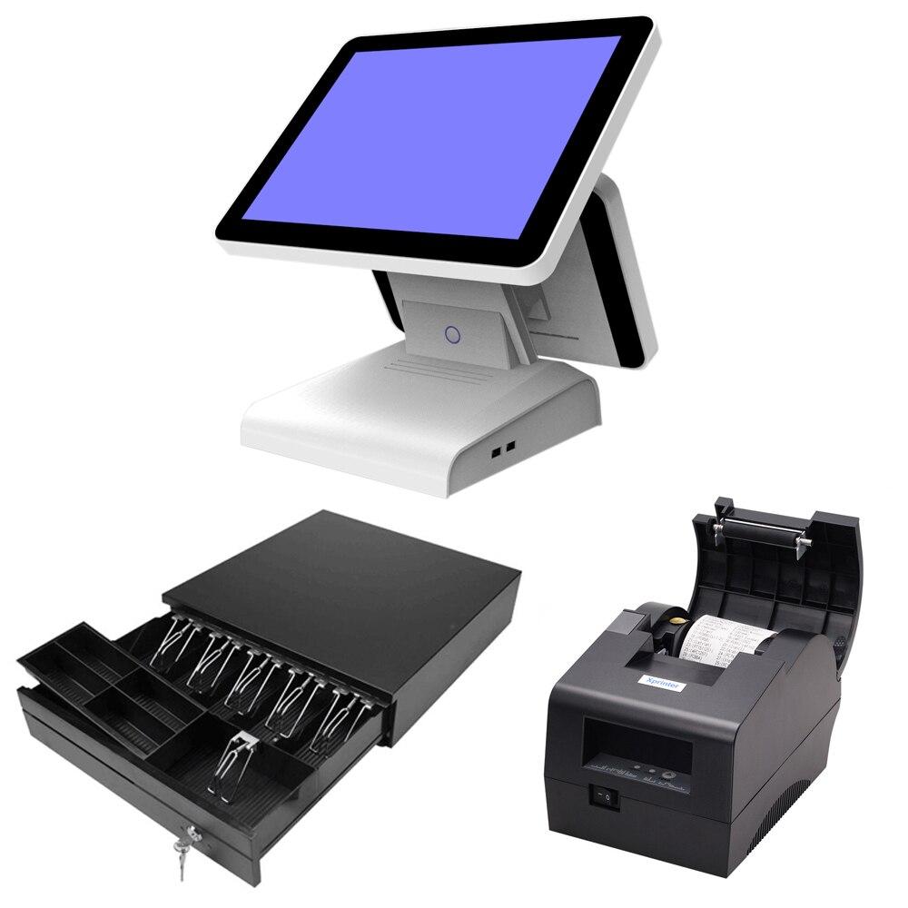15 pouces tout en un POS écran tactile POS système caisse enregistreuse avec tiroir-caisse imprimante thermique