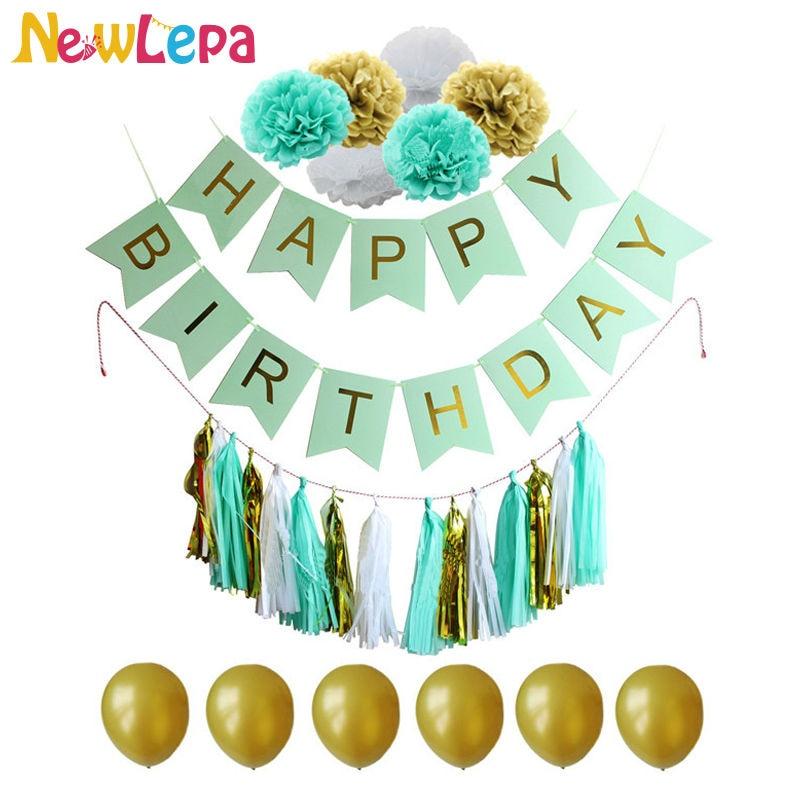Un set Happy Birthday Banner Hârtie Pom Paper Ciucure Garland - Produse pentru sărbători și petreceri