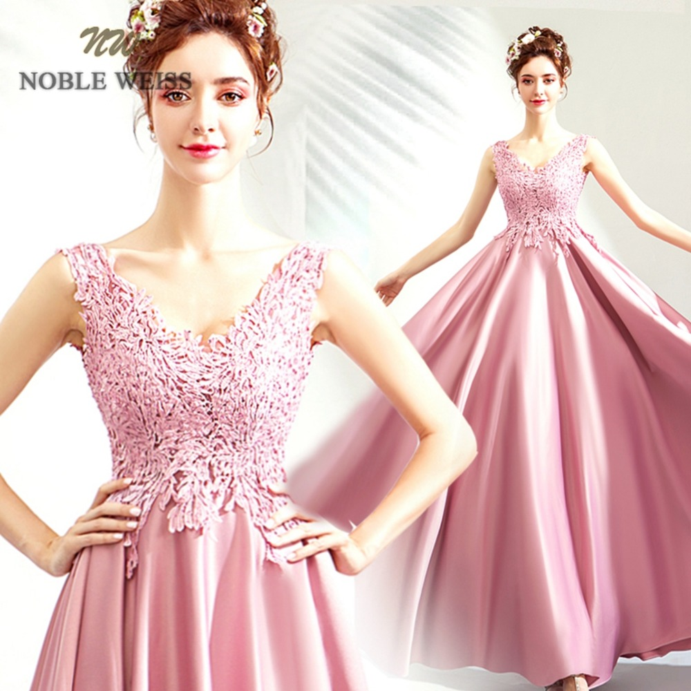 prom dresses long sexy lace a line bean pink prom dress v neck bare back satin