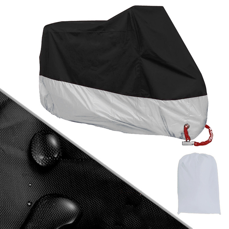 Waterproof Outdoor Motorbike UV Protector Rain Dust Bike Motorcycle Cover Size L/XL silver and black Drop shipping