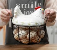 Ceramic Egg Holder Chicken Wire Egg Basket Fruit Basket Creative Collection Ceramic Hen Oraments Decoration Kitchen Accessories