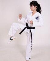 White ITF Taekwondo Uniform Adult Taekwondo Karate Dobok Exquisite Embroidery Tkd Clothing Kids Kungfu Martial Arts