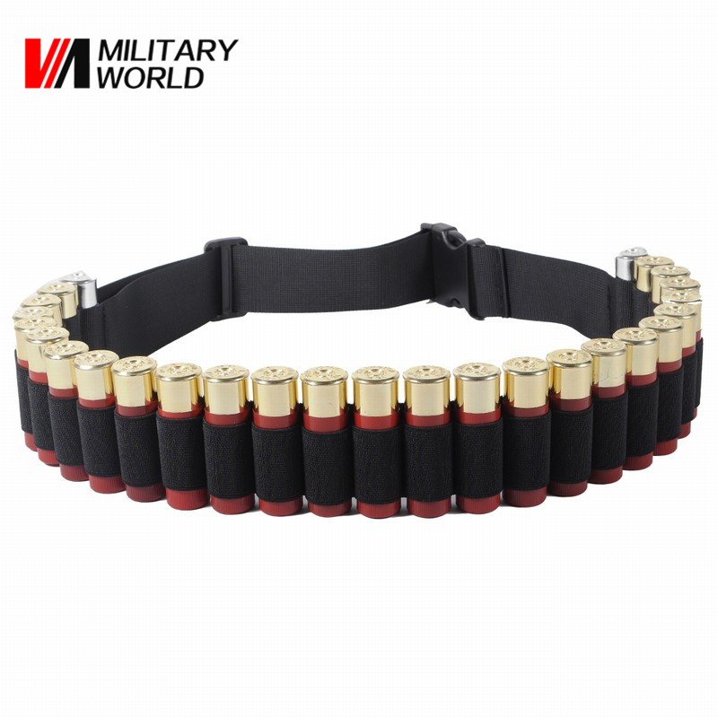 Military World 130*5cm Tactical Hunting Shotgun 12 GA Belt Nylon Airsoft 25 Rounds Bullet Ammo Holster Pouch Belt Accessories