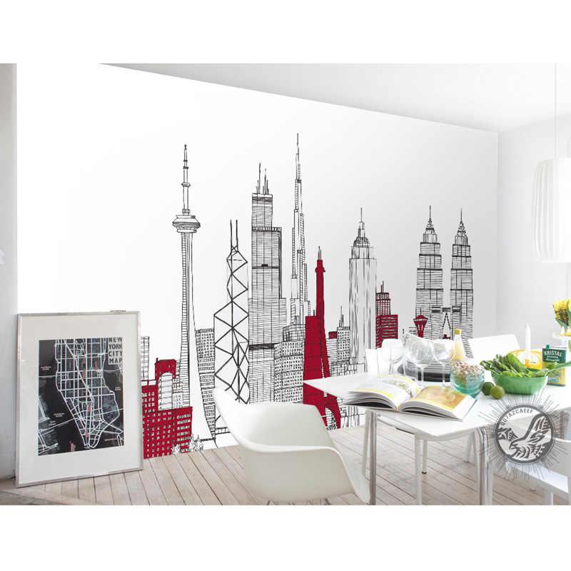 Modern Wall Art ภาพจิตรกรรมฝาผนังมือวาดสถาปัตยกรรมภาพวอลล์เปเปอร์ห้องนั่งเล่นห้องนอนฉากหลังทีวี Self กาวไวนิล/ผ้าไหมวอลล์เปเปอร์