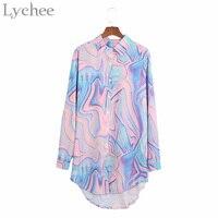 Личи Harajuku Винтаж Для женщин Рубашка Радуга Пейсли градиент шифон Лазерная Повседневное Свободная рубашка с длинными рукавами