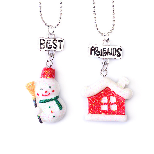 Christmas Gift Ideas For Girl Best Friends: 2PC/Set Merry Christmas Gift House Snowman Pendant Best
