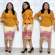 African Clothes Elegant Flare Sleeve Bodycon Dress Women 2019 V Neck Bow Printed Belt Pencil Dress High Quality Office Lady XXXL