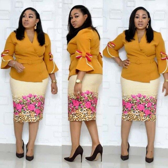 בגדים אפריקאים אלגנטי התלקחות שרוול Bodycon שמלת נשים 2019 צווארון V קשת מודפס חגורת עיפרון שמלה באיכות גבוהה משרד ליידי XXXL