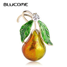 Blucome Cute Green Leaves Yellow Gourd Pear Brooches For Women Men Kids Clothes Accessories Enamel Suit Scarf Shoulder Clips Pin(China)