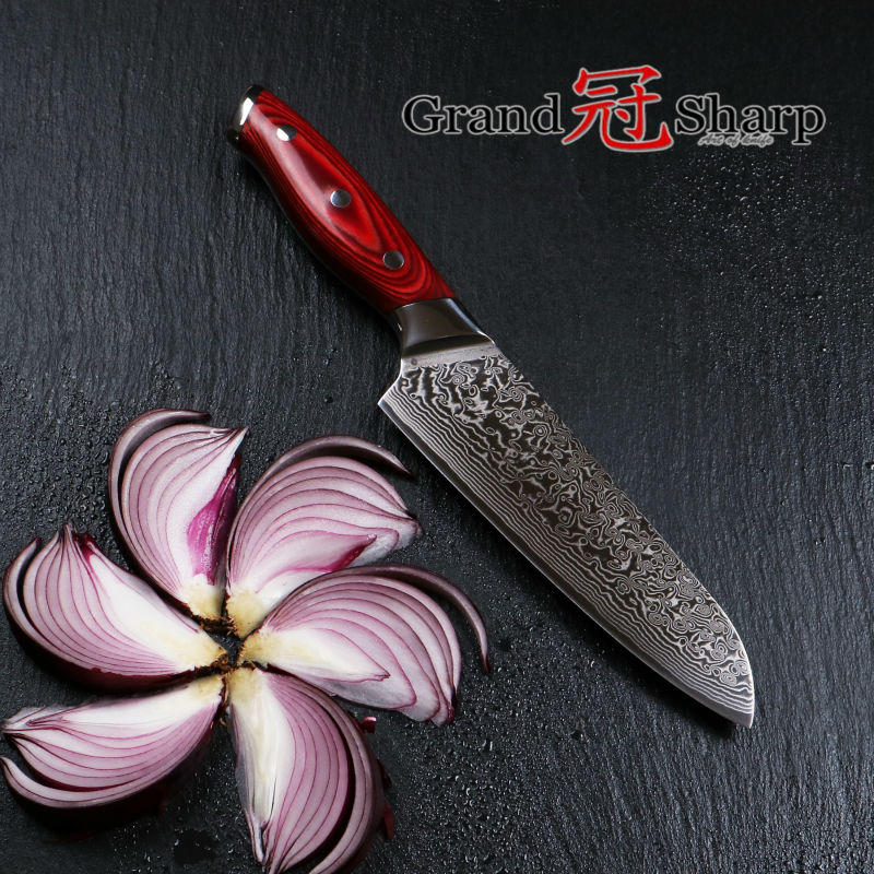 GRANDSHARP 7 Inch Santoku font b Knife b font 67 Layers Japanese Damascus Stainless Steel VG