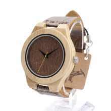 BOBO BIRD E13 Men's Water Resistant Natural Bamboo Wood Watches With Leather Band Timepiece in Wood Box