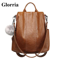 Glorria High Quality Leather Backpack Women Multifunction Backapcks Anti Theft Backpacks Girls Fashion School Bag Kanken Mochila