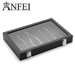 Anfei новые модные черные туфли высокого качества кожа серия Пылезащитно Стекло коробочка для хранения ожерелья кулон коробка для хранения