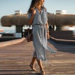 Kobiety na co dzień Sukienka w paski drukowane długie rękawy luźne przycisk bandaż pas koszulka długa Sukienka vestidos moda Sukienka 1