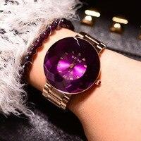 Moda Marka kuvars saatler Su Geçirmez kadın Saatler Altın paslanmaz çelik şerit Benzersiz Elmas Cam Lüks Kol Saatleri