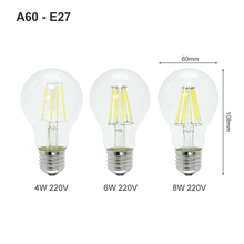 1pcs E27 E14 LED Filament Bulb Dimmable 2W 4W 6W 8W Retro Vintage Glass G45 A60 Edison Lamp 220V Ampoule Candle Light Chandelier