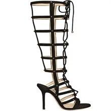 Novetly Frauen Knielange Stiefel Zapatos Mujer Lace-up Sandalen Sommer Schwarz Leder Stilettos High Heels Schuhe Partei Feste sandale