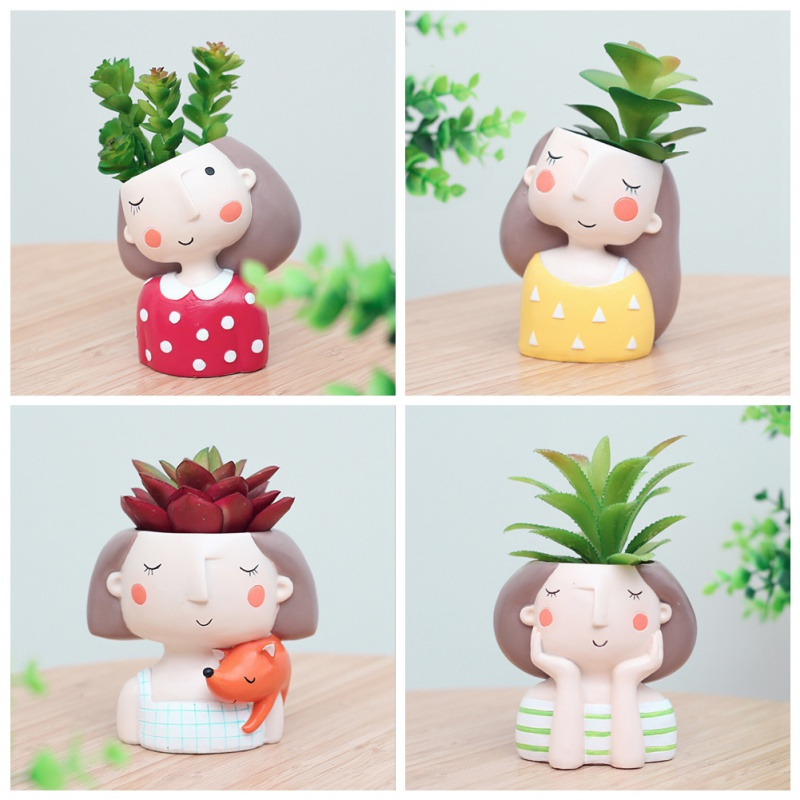 1 pcs wholesale Flowerpot Plant Pot Cute Girl Flower Planter Home Garden Mini Bonsai Cactus Flower Pot Wedding Birthday Gift whism storage basket rattan straw basket wicker folding flower pot seagrasss flower baskets garden planter pot de fleur suspendu