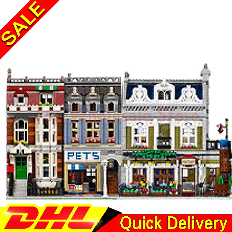 Lepin 15009 Pet Shop Supermarket + Lepin 15010 Parisian Restaurant Model Building Street Sight Blocks Bricks Toy 10218 10243 dhl new 2418pcs lepin 15010 city street parisian restaurant model building blocks bricks intelligence toys compatible with 10243