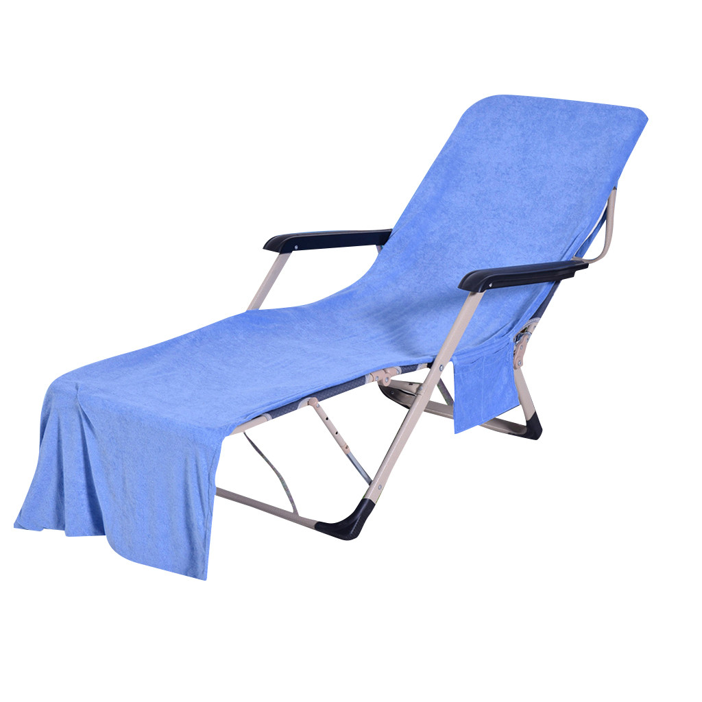 Beach Lounger Chair Cover Towel Sunbath Chairs Absorbent Mat Carry With Pockets