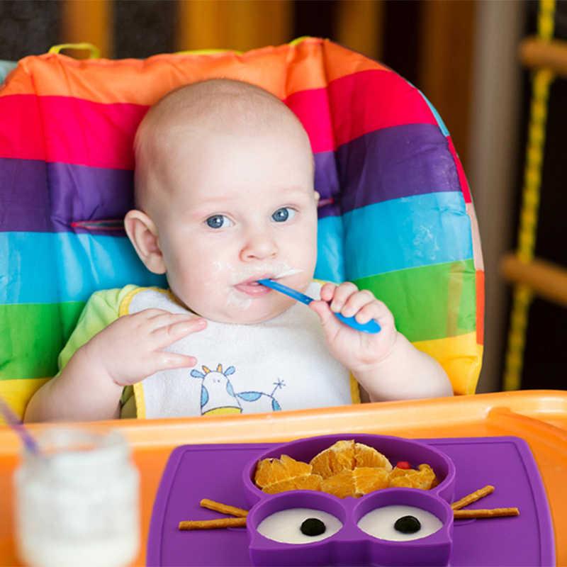 Qshare ชามเด็กจานชามเด็กอาหาร Placemat จานถ้วยให้อาหารทารกเด็กซิลิโคนเด็ก Feed Plate