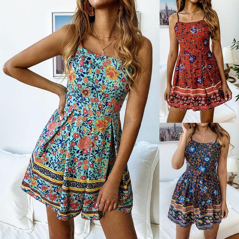 Women Holiday BOHO Floral Print Strappy Mini Sundress Short Jumpsuit Playsuit Romper