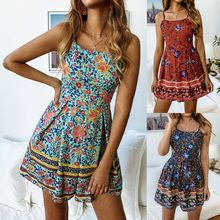 Women Holiday BOHO Floral Print Strappy Mini Sundress Short Jumpsuit Playsuit Romper