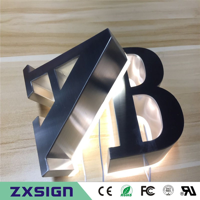 Outdoor Waterproof Stainless Steel Backlit Letter Shop Signs, Halo Lit LED Signages, Rear Lit Metal Signboards(China)