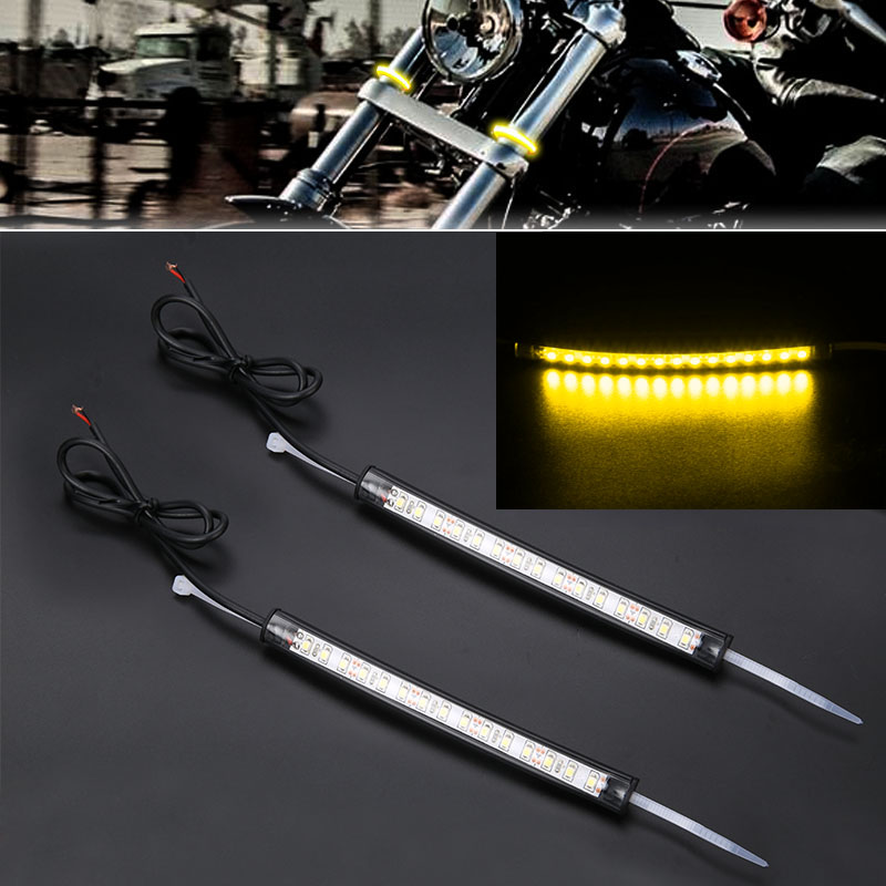 Mayitr 2pcs Motorcycle LED 39mm 41mm Fork Turn Signal Strip Light Amber font b Lamp b