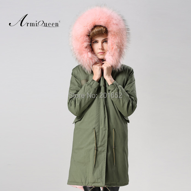 Factory wholesale price Women's Vintage Retro Fur Hooded Military Parka Jacket Coat with pink lined and collar fur mr 4