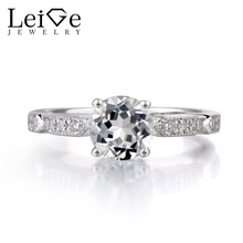 Leige Jewelry Natural White Topaz Ring Round Cut Promise Engagement Sterling Sliver Rings For Woman November Birthstone