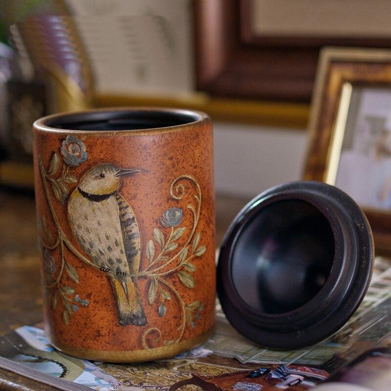 Pot en céramique rétro créatif pots raffinement Rural oiseau et fleur bouteilles de rangement en céramique faire l'ancien beau réservoir de stockage - 3