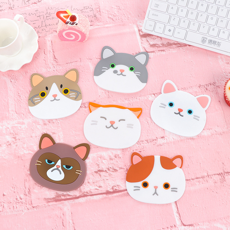 Us 0 5 Cute Cartoon Cat Coasters Silicone Cup Mat Dining Table Placemat Coaster Coffee Bar Mug Drink Pads Kitchen Accessories In Mats