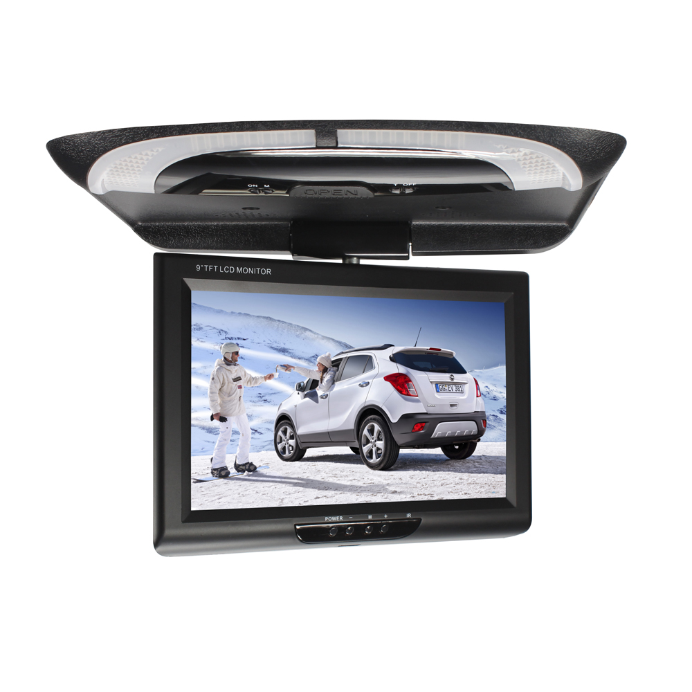 9 Inch Flip Down LCD Color CD Player Display Roof Mount DVD Multimedia Dome Lights ABS Car Monitor Video Digital Screen TFT(China)