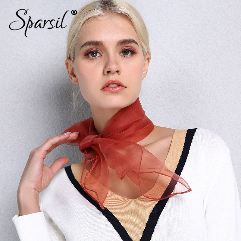 Sparsil Square Scarf Head-Wear Spring Organza Thin Transparent Fashion Women Summer Solid