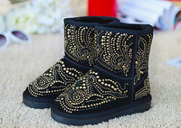 2018 New Winter Children Snow Boots Sequins Kids Boys Leather Boots Warm Shoes With Fur Princess Baby Girls Non slip Ankle Boots