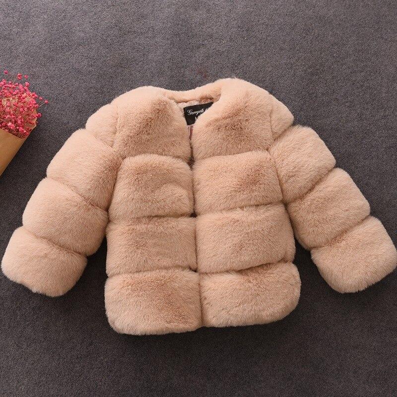 Girls Fur Coat Elegant Baby Girl Faux Fur Jackets Thick Warm Parka Kids Outerwear Clothes Girls Coat H332