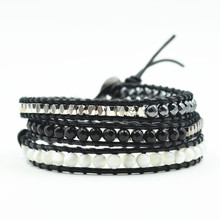 2019 New Jewelry 3 Strands Natural Stone Bead Handmade Leather Bracelet Wrap HandWork Drop Shipping Gift