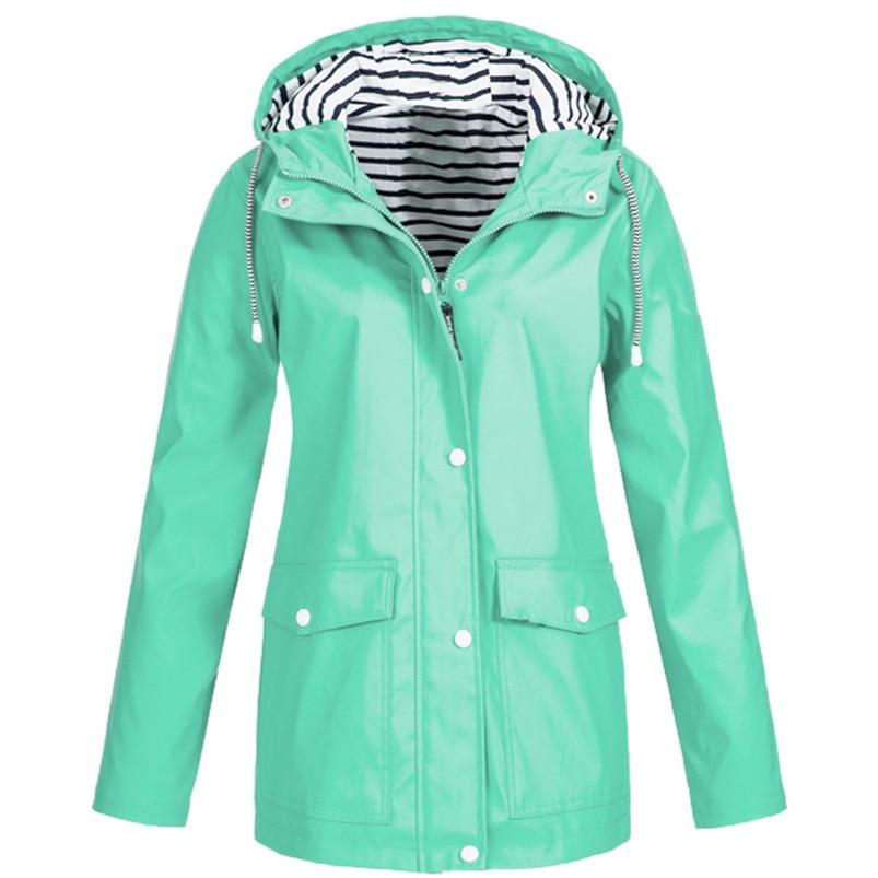 Rain Coat Women Plus Size Coat 2018 Long Sleeve Waterproof Jacket Hooded Raincoat Jacket Women Clothes Warm Coat Girl #O11 (28)