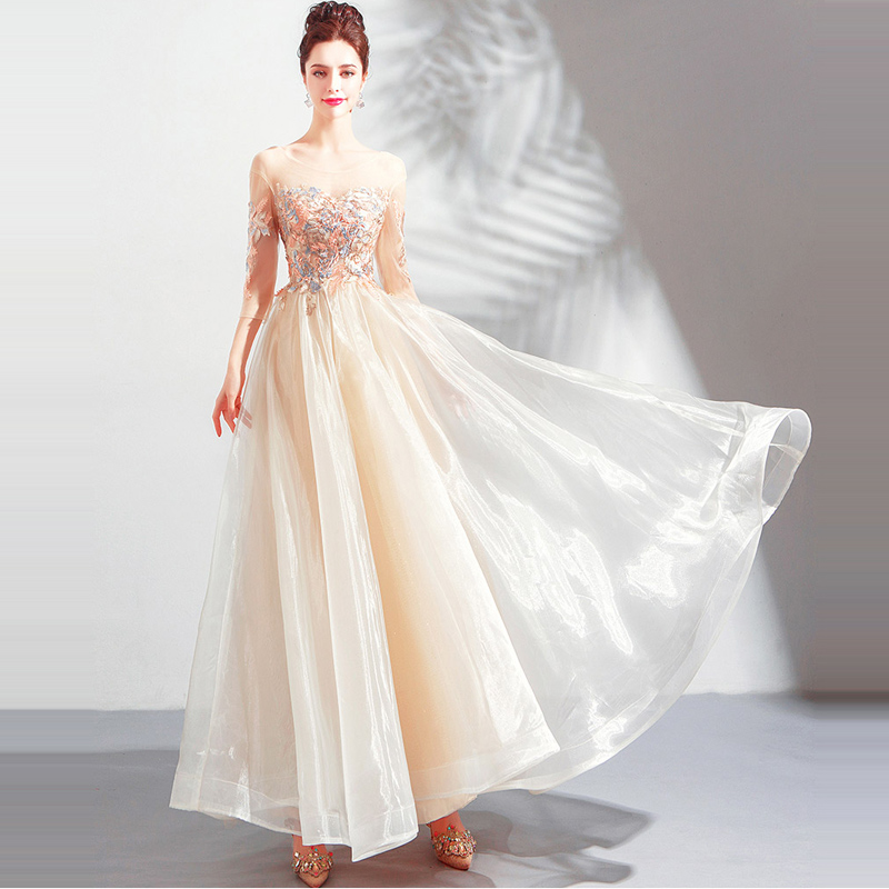 It's YiiYa Prom Gowns O-neck Three Quarter A-Line Ankle-Length Embroidery Party Dress Custom Plus Size Prom Dresses 2019 E236