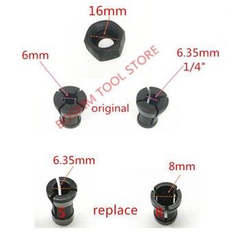 كوليت الجوز استبدال ل ماكيتا 6.35mm 8mm RP0900 RT0700C RT0700CX3 RT0700CX2 3621 3621A 3620 MT361 763636-3 763637-1 1/4