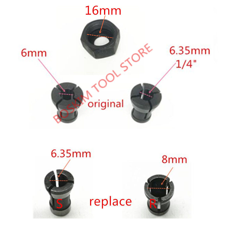Collet Nut Replace For MAKITA 6.35mm 8mm RP0900 RT0700C RT0700CX3 RT0700CX2 3621 3621A 3620 MT361 763636-3 763637-1 1/4