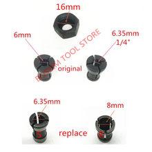 """Купить с кэшбэком Collet Nut Replace for MAKITA 6.35mm 8mm RP0900 RT0700C RT0700CX3 RT0700CX2 3621 3621A 3620 MT361 763636-3 763637-1 1/4"""" router"""