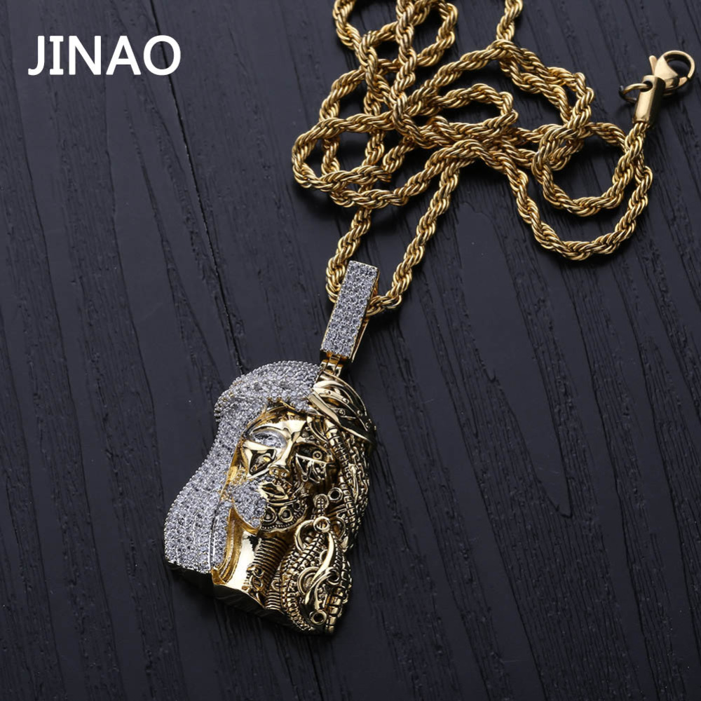 JINAO Gold Color Iced Out Chain Cubic Zircon Religious Ghost Jesus Head Pendant Necklaces Men Gifts Hip Hop Bling Jewelry JINAO Gold Color Iced Out Chain Cubic Zircon Religious Ghost Jesus Head Pendant Necklaces Men Gifts Hip Hop Bling Jewelry