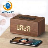 Retro Bluetooth Digital LED Alarm Clock Backlight Display Bass Diaphragm Portable Wooden Desktop Clock Speaker Function